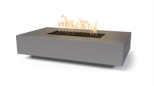 Linear Cabo Gas Fire Pit by The Outdoor Plus: As shown in the natural gray GFRC finish.