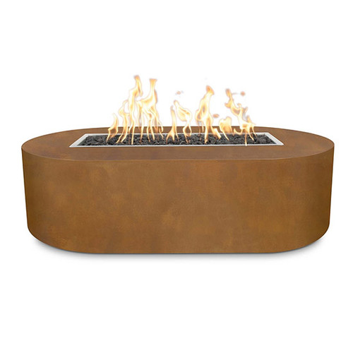 The Outdoor Plus Pispo Fire Table: T.O.P Fire Pispo fire pit shown with the corten steel natural rust finish