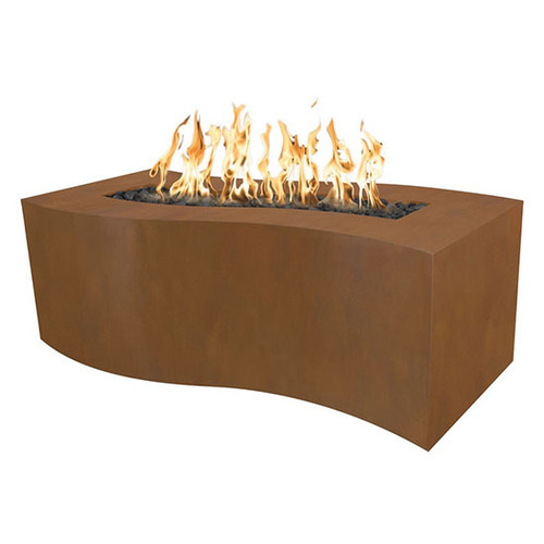 Billow Gas Fire Pit T.O.P Fire by The Outdoor Plus: As shown in the corten steel natural rust finish.