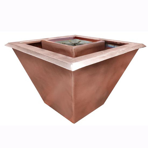 Bobe 360 Square Seamless Lip Water Fire Bowl: As shown in the smooth copper finish with the perfect flame burner.