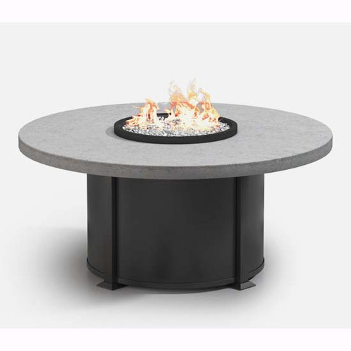 Homecrest concrete fire table natural series: As shown in the 54 inch coffee size with the aluminum onyx black base and the drift gray concrete top.