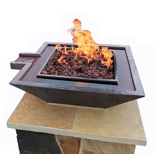 Bobe Water And Fire Bowl: As shown Artisan Series With the Extended Original Lip with the Perfect Flame Burner In the Smooth Copper Finish.
