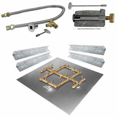 Warming Trends Square Paver Fire Pit Kit: As shown Crossfire Brass burner, key valve flex line kit, key valve extension, universal flex install collars.
