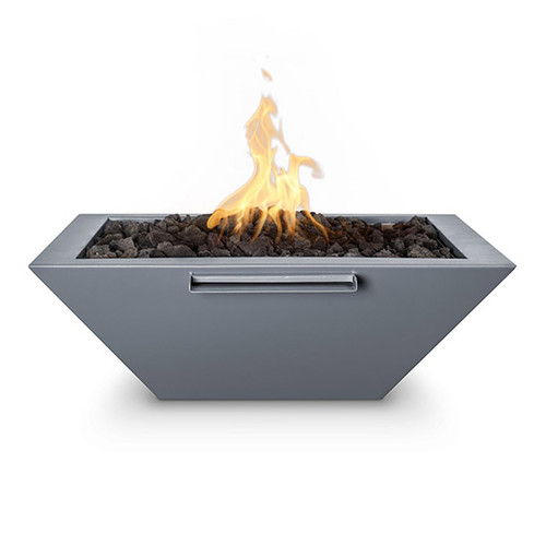 The Outdoor Plus Maya Fire and Water Bowl: As shown in the gray powder coated metal finish with the black lava rock media.