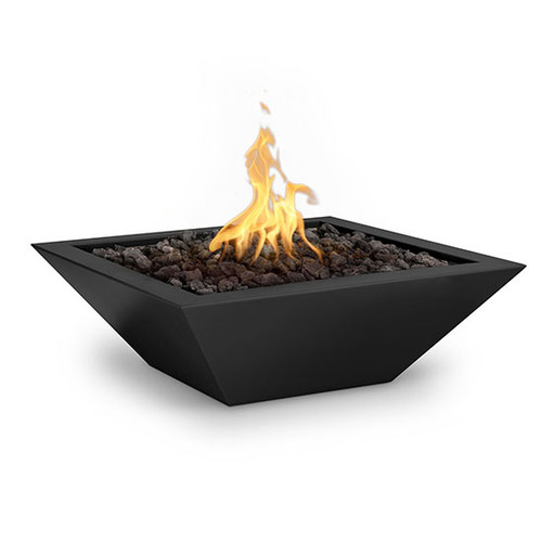 The Outdoor Plus Maya Metal Fire Bowl: As shown in the black powder coated finish with the black lava rock media.