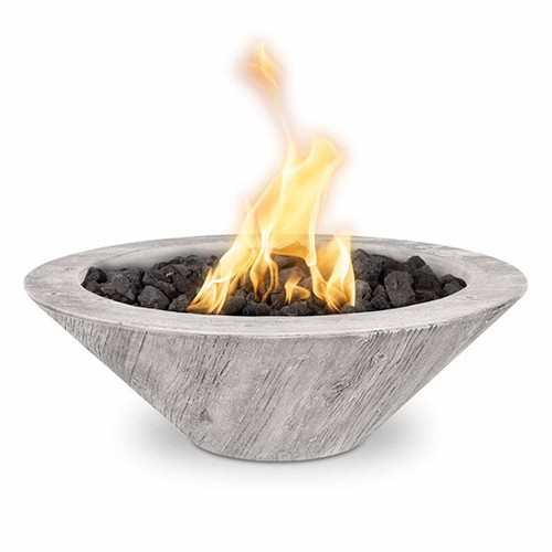 The Outdoor Plus Cazo Wood Grain Fire Bowl: As shown GFRC concrete finish with the Ivory finish.