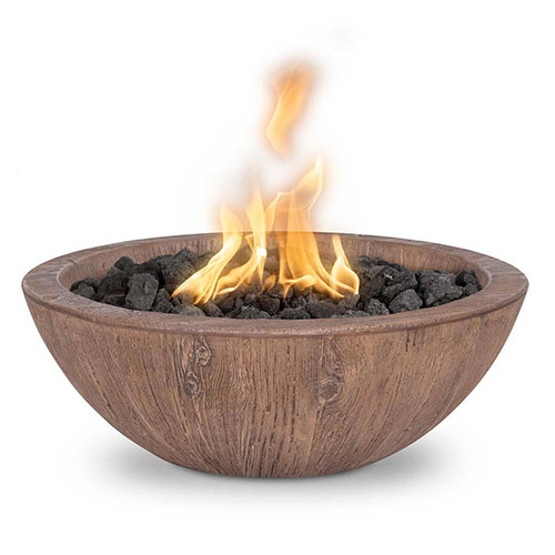 Sedona Concrete Fire Bowl by The Outdoor Plus: As shown in the GFRC Oak finish.