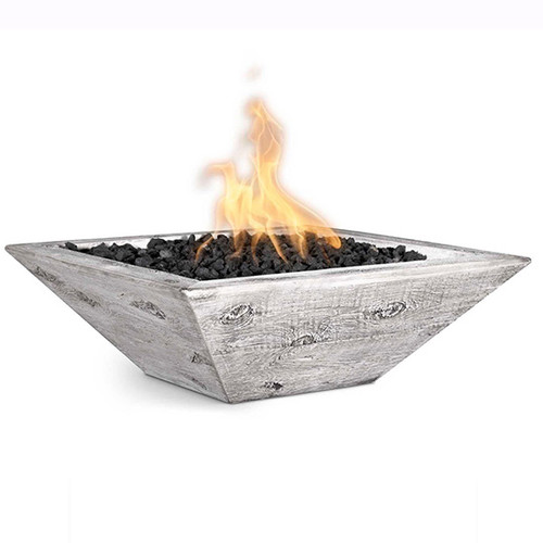 The Outdoor Plus Maya Concrete Wood Grain Fire Bowl: As shown with the GFRC Ivory finish.