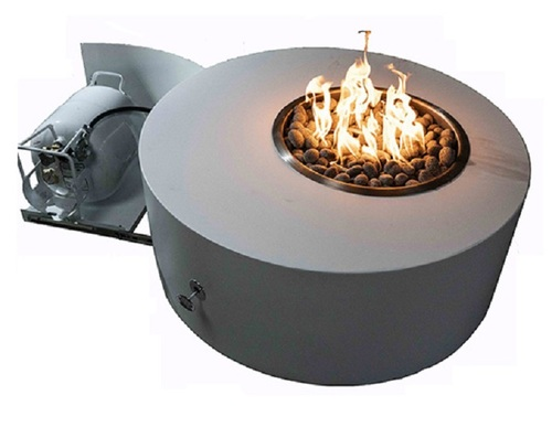 Isla Propane Fire Pit Table With Hidden Tank:  As shown powder coated 304 stainless steel and concealed propane tank door.