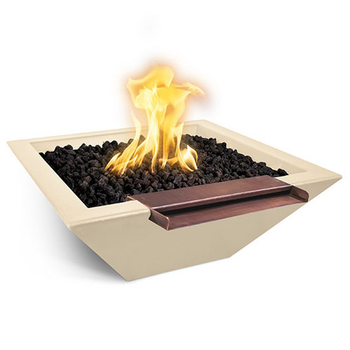 Maya Concrete Wide Spill Fire and Water Bowl: As shown in the Vanilla GFRC finish with the wide spill copper spillway.