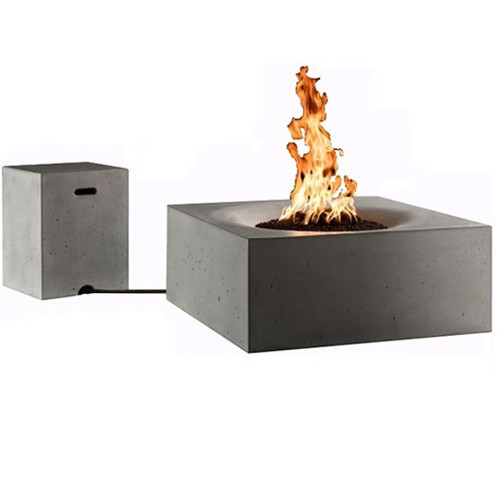 Slick Rock Horizon Square Concrete Fire Pit Table: As shown in the Shale finish with matching the side bbq propane tank table.