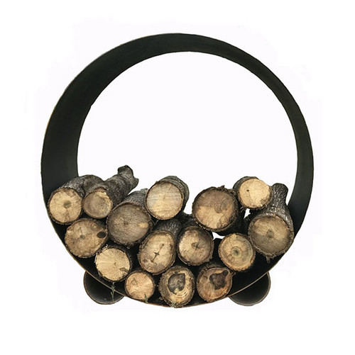 Round Steel Fire Wood Log Rack: As shown in a 3/16 inch mild steel natural rust finish.