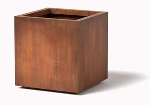 Cube Planter: Shown in Cor-ten steel natural rust finish.