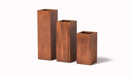 "12"" Column Planters Group - shown in corten steel with a natural rust finish"