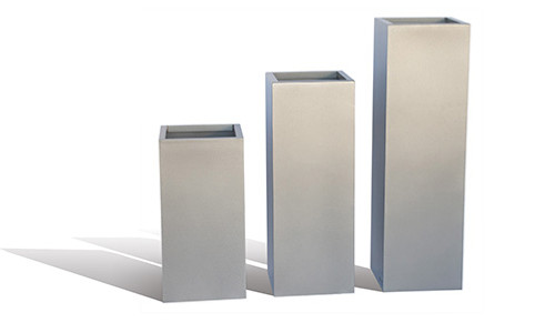 "12"" Column Planters Group - shown in metallic silver powder coated aluminum"