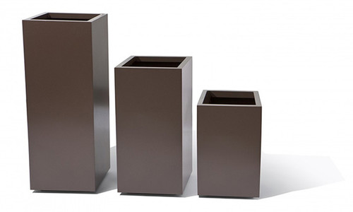 "18"" Column Planters: Shown in a Textured Hammered Bronze Powder Coat Aluminum."