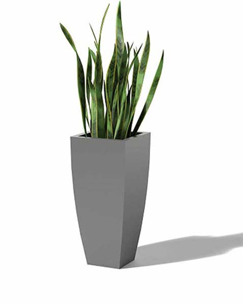 Aluminum Radius Taper Planter- As shown in powder coat metallic sliver aluminum finish.