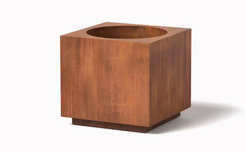 Metal Block Planter- Shown in Cor-Ten Steel Natural Rust Patina Finish.