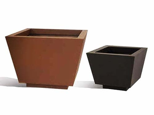 Aluminum Trapezoid Planter- As shown large and small hammered bronze and black powder coated finish.