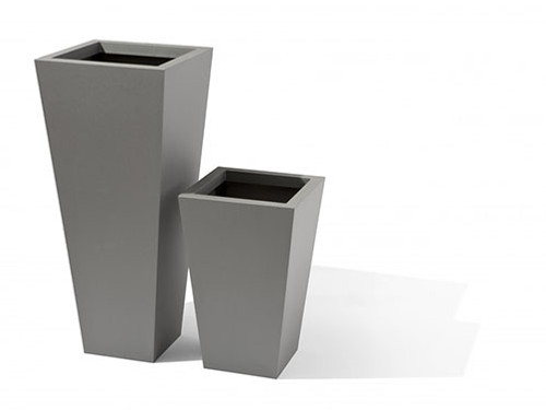 Aluminum Taper Planter- Shown in metallic silver powder coated aluminum finish.