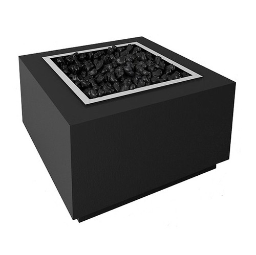 Modern Square Aluminum Fire Pit: As shown with the manual match lit gas option, stainless steel drop in pan and powder coated black finish.