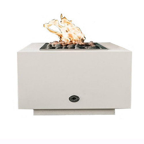 Modern Square Gas Aluminum Fire Pit: As shown with a natural gas match lit kit and stainless steel drop-in fire pan.