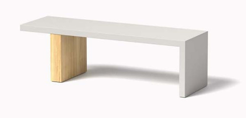 Plank Bench- As shown in Linen White Powder Coat Aluminum and Cedar Block Leg.