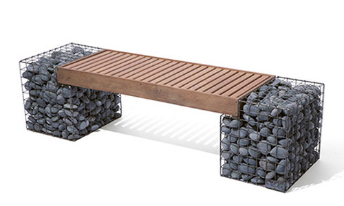 Modern Industrial Gabion Bench with high quality IPE wood-slat bench seat top.