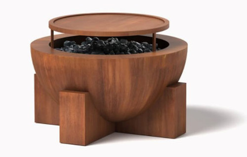 Round Fire Pit- Wood burning option shown in corten steel natural rust finish.