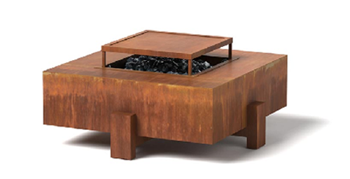 Square Fire Pit: Shown in a Corten Natural Rust Steel finish