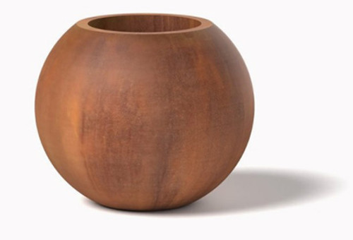 Orb Planter- Shown with Corten Steel, Natural Rust Patina Finish.