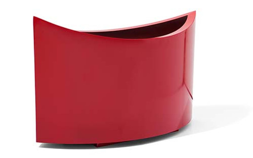 Modern Aluminum Ellipse Planter- As shown powder coat red aluminum finish.