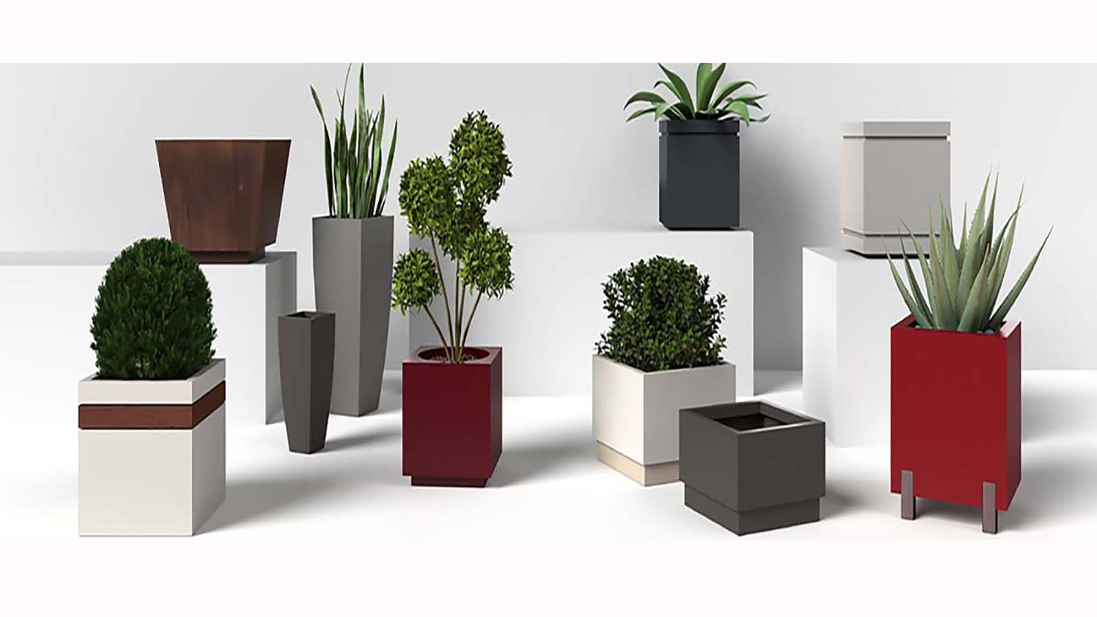 Large Outdoor Modern Aluminum And Steel Planters
