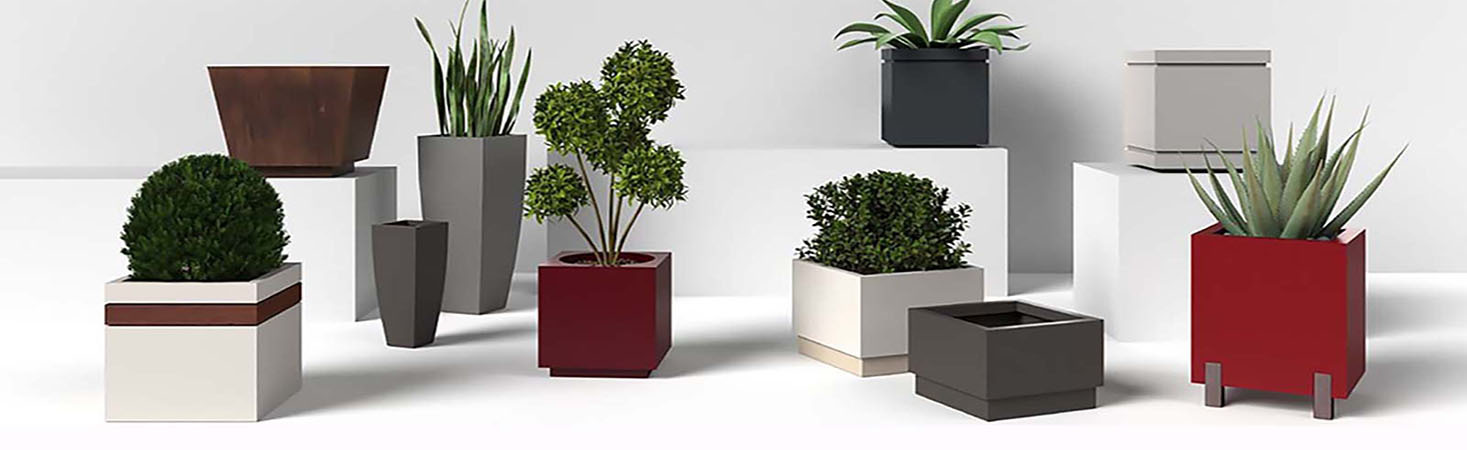 Picture shows various shapes and sizes of different planter box designs from square to rectangular