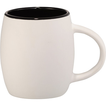White w/ Black - Hearth Ceramic Mug with Wood Lid Coaster 14oz | Hardgoods.ca