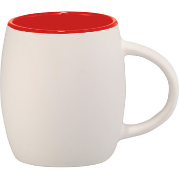 White w/ Red Trim - Hearth Ceramic Mug with Wood Lid Coaster 14oz | Hardgoods.ca