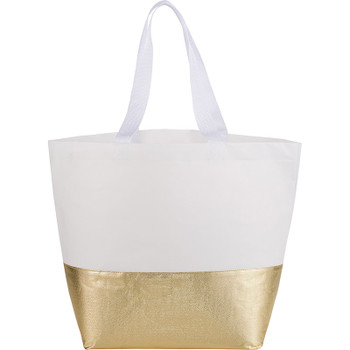 White/Gold - Large Laminated Non-Woven Metallic Bottom Tote | Hardgoods.ca