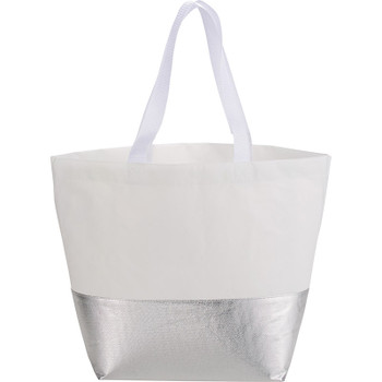 White/Silver - Large Laminated Non-Woven Metallic Bottom Tote | Hardgoods.ca