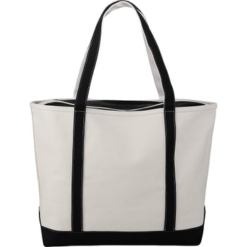 Black - Premium 24oz Cotton Canvas Zippered Boat Tote | Hardgoods.ca