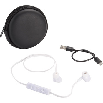 White - Sonic Bluetooth Earbuds and Carrying Case | Hardgoods.ca