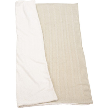 Cream - Field & Co. Cable Knit Sherpa Blanket | Hardgoods.ca