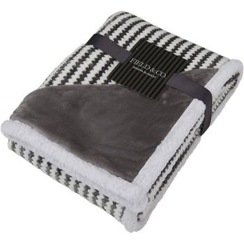 Gray - Field & Co. Chevron Striped Sherpa Blanket   Hardgoods.ca
