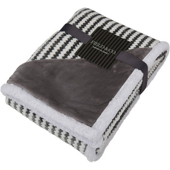 Gray - Field & Co. Chevron Striped Sherpa Blanket | Hardgoods.ca
