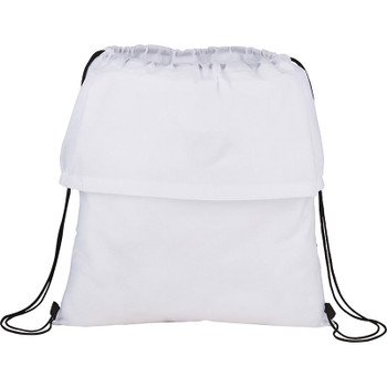 White - BackSac Block Non-Woven Drawstring Bag | Hardgoods.ca