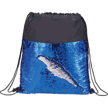 Blue/Silver - Mermaid Sequin Drawstring Bag | Hardgoods.ca