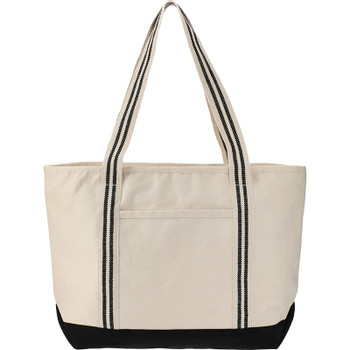Natural/Black - Stripe Handle 20oz Cotton Canvas Zipper Boat Tote | Hardgoods.ca