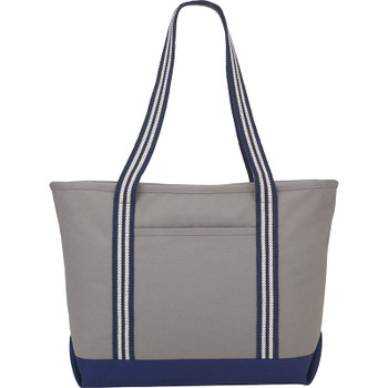 Gray - Stripe Handle 20oz Cotton Canvas Zipper Boat Tote | Hardgoods.ca