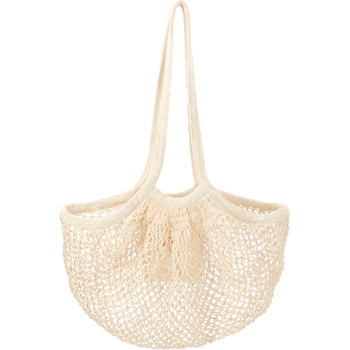 Natural - Riviera Cotton Mesh Market Bag w/Zippered Pouch