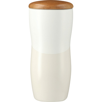 White - Reno Double Wall Ceramic Tumbler w/Wood Lid 10oz | Hardgoods.ca