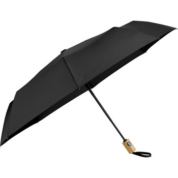 "Black - 42"" Recycled PET Auto Open/Close Folding Umbrella 